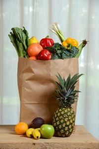 Grocery Brown Bag With Fruits and Vegetbales
